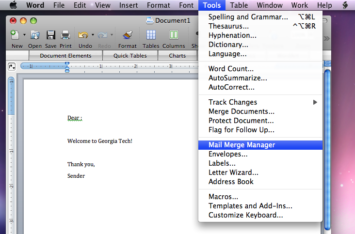 Using Mail Merge with Entourage and Microsoft Word | Information ...