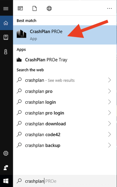 searching for crashplan in Windows